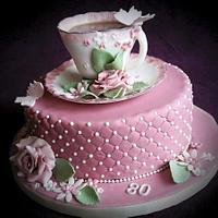 Teacup and rose - vintage cake