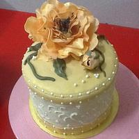 gift box cake with fantacy flower