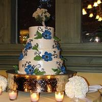 Blue flowered wedding cake