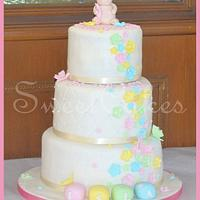 3 Tier Pastel Flower Christening Cake