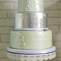 SilverLeaf and Green Wedding Cake