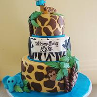 Jungle Safari Cake Baby Shower Cake