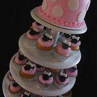 Minnie Mouse Cake and cupcake tower!