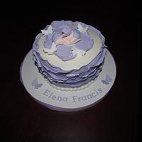 Lavendar and White Baby Shower Cake and Cupcake Tower