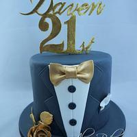 Tuxedo theme birthday cake
