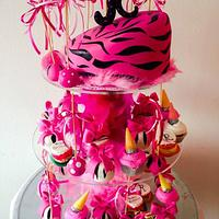 Fancy birthday cake,lollypops&cupcakes