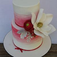 Amy's Red and White 40th Birthday Cake