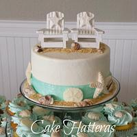 Beach Cutting Cake and Cupcakes
