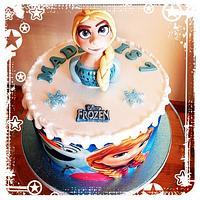 Frozen cake with modelled Elsa