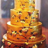 Japanese Gold Wedding Cake