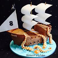 Pirate ship & sea monster cake