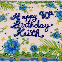 100% buttercream blue floral man's cake