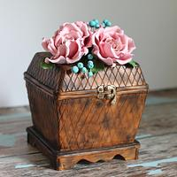 Hand- Painted Wooden Box Cake with Pink Roses