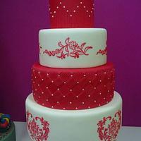 Tarta de Boda roja y blanca