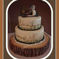 hand painted grooms cake