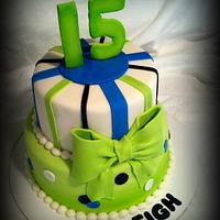 Lime Green and Blue Birthday Cake