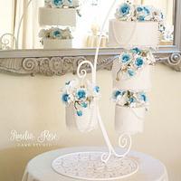 teal chandelier cake
