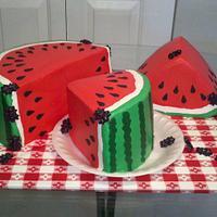 Buttercream Watermelon Cake