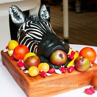 zebra head wedding cake