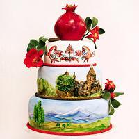 Аnniversary cake with Armenian landscape