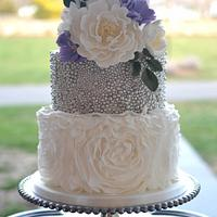 Ruffled and Beaded Wedding Cake