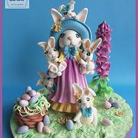 Fondant Cake Topper Sweet Easter Collaboration; Easter bunnies!