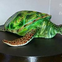 Handpainted green turtle