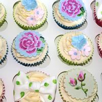vintage hand painted cupcakes