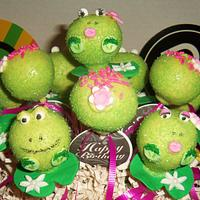 Party on the lilypad frogs cake pops