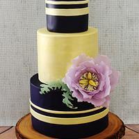 Midnight Purple & Champagne Wedding Cake