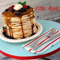 Pancake cake with hand made edible silverware and plate