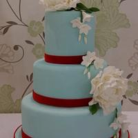 Tiffany Blue with Peonies Wedding Cake