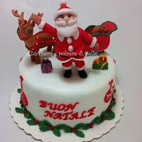 Santa Claus and Rudolph Christmas Cake