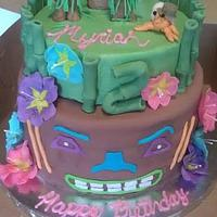Luau Themed Birthday Cake
