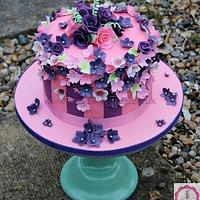 Passion Pink and Purple Floral Celebration Cake