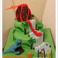 Dinosaurs and volcano cake