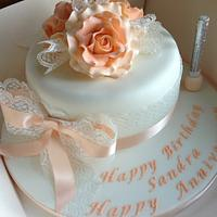 Peach lace and roses by Donnajanecakes
