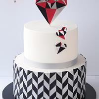 Geometric Heart Cake for Valentine's Day