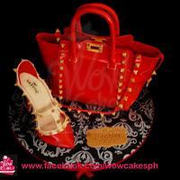 valentino bag cake and stiletto