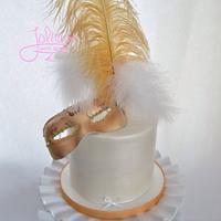 Gold & White Masquerade Cake