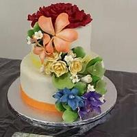 Rainbow Flower Effect Wedding Cake