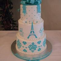 Parisian Chic baby boy shower cake