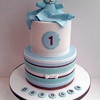 1st birthday stripey teddy cake