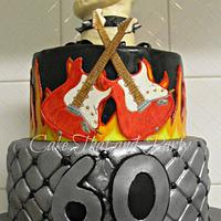 Rock themed 2 tier birthday cake