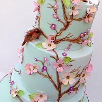 Vintage floral birthday cake