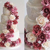 Cascading Roses & Snowflakes
