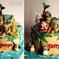 Madagascar themed cake