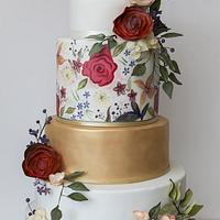 Handpainted bright autumnal flowers with gold