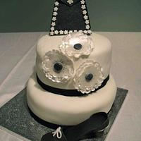 1920's two tier shoe, handbag and flowers, black and white