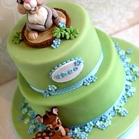 Thumper and Bambi baby shower cake